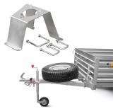 Для удобства использования прицепа мы предлагаем использовать дополнительное оборудование: опорные колеса, аппарели для закатывания крупной мототехники в прицеп, дополнительные ролики и прочее.